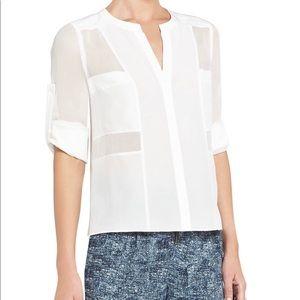 BCBG maxazria white silk button down blouse XS EUC